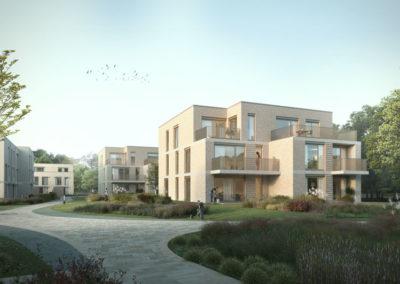 Neubau von vier Mehrfamilienhäusern mit Tiefgarage